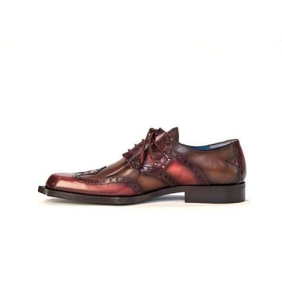 Twisk Rogue Derby Shoe in Brushed Brown And Red