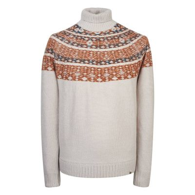 Pretty Green Abbott Roll Neck Sweater In Stone